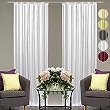Dekoschal Streifen halbtransparent 2er Pack Auswahl: Universalband 140x 175cm weiß - perlweiß, Gardine Vorhang