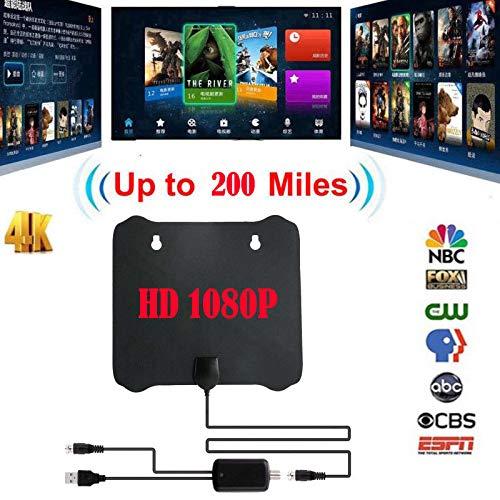 Alician Antena plana delgada de 200 millas HD TV HDTV 1080P 4K DTV Sky Link TV Antena