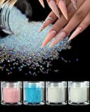 4 Colors Caviar Beads Nail Crystals Micro Pixie Beads Multicolor Glass Pixie Crystals for 3D Nail Art DIY Charms Decorations (crystal ab)
