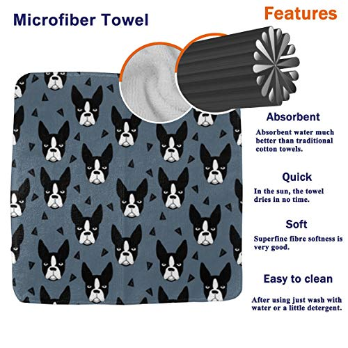 PJKOGMBJ Mint Boston Terrier (2) Face Towel,Hand Towel,Kitchen Towels Dish 3D Design Pattern Towel,Towels for The Kitchen,Cleaning,Cooking,Baking,Dishwashing Towel