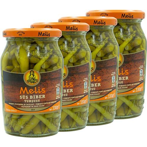 Melis - Scharfe Peperoni in Salzlake eingelegt im 4er Set á 330 g Glas