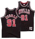 Mitchell & Ness Dennis Rodman Chicago Bulls Men's 1995 Black Pinstriped Swingman Jersey (X-Large)