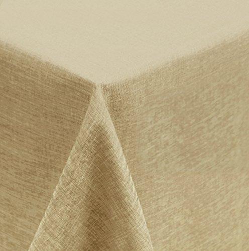 Unbekannt Tischdecke 110x140 cm Natur beige Mitteldecke eckig Struktur Leinenoptik beschichtet Wasser und Schmutz abweisend Lotuseffekt