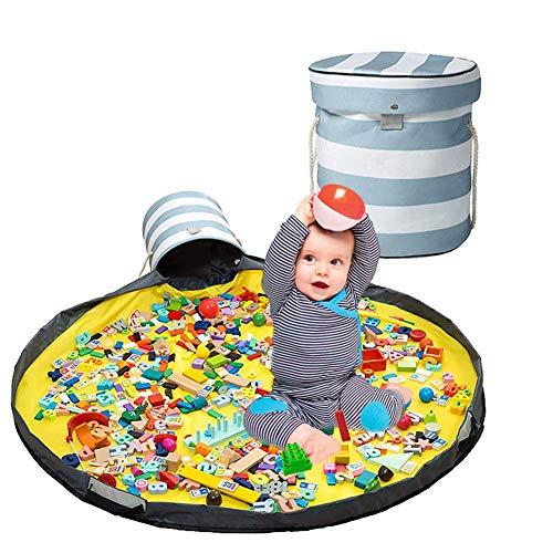Toy Play Mat and Toy Storage Organizer Basket, Quick Storage Bag Collapsible Canvas Basket for Kids Room, Classroom,Toy Organizer, Creative Toys Storage Organizer
