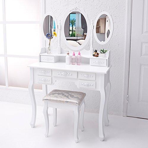 CCLIFE Schminktisch Frisiertisch Kosmetiktisch mit Spiegel Hocker Makeup Table Weiß Modern, Variante:010 Weiss