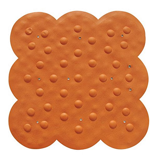 MSV Tapis Caoutchouc de Douche Orange 54x54, Carbonate de Calcium