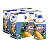 Happy Tot Organic Stage 4 Fiber & Protein, Pears, Blueberries & Spinach, 4 Ounce (Pack of 8)