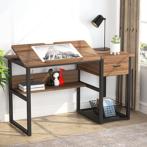 Tribesigns Drafting Table with Storage Drawers, Drawing Computer Desk Artist Craft Table Painting Desk Workstation with Shelves and Tiltable Tabletop for Students, Home Office