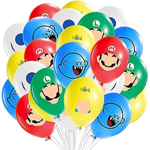 BESTZY Super Mario Ballons ournitures de Fête Super Mario Bros Thème Fête Ballon en Latex Enfants Décoration de Anniversaire Mario Ballon de Baudruche 40 Pièces
