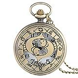 YJRIC Reloj de Bolsillo Reloj de Bolsillo de Cuarzo de la Serie temática de 12 Constelaciones, Relojes Modernos para Hombre, Cadena de Reloj del Zodiaco, Regalo de cumpleaños de Navidad, Piscis
