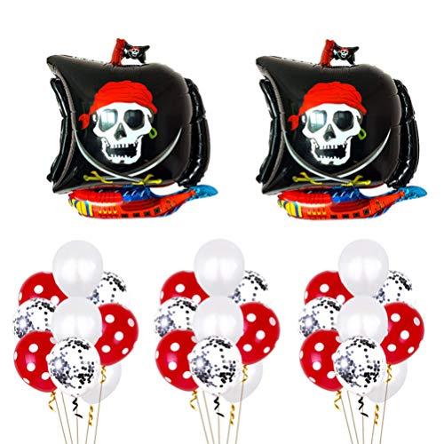 TOYANDONA Suministros de Fiesta Pirata Globo de Barco Pirata Globos de Calavera para Niños Fiesta de Niños Favores de Fiesta de Cumpleaños Pirata