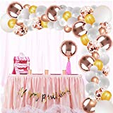 White Balloons Garland Kit, Rose Gold balloon Arch Foil Balloons for Wedding Baby Shower Birthday Graduation Anniversary Party Decorations