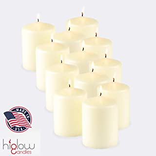 Higlow Bulk case of 12 Ivory Pillar Candles - 40 Long Burning Hours Candle Set - 3-inch x 4-inch Dripless Candle - Perfect for Wedding Candles, Parties and Special Occasions