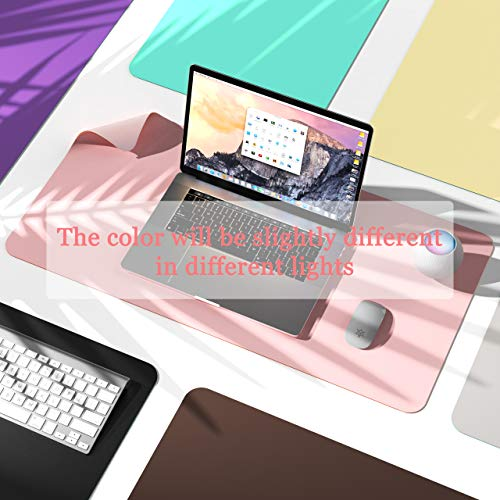 """Non-Slip Desk Pad,Mouse Pad,Waterproof PVC Leather Desk Table Protector,Ultra Thin Large Desk Blotter, Easy Clean Laptop Desk Writing Mat for Office Work/Home/Decor(Pink, 31.5"""" x 15.7"""") Photo #5"""