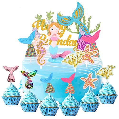 Herefun 34pcs Cake Topper de Sirena, Mermaid Doll Cake Topper Figura Lentejuelas, Cupcake Topper Set, Sea Series Cake Decoration niña Feliz Cumpleaños Mermaid Tail, fiestas cumpleaños o fiestas (Azul)