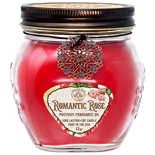 Large Jar Candle Scented with Romantic Fresh Cut Heirloom Roses - 17...