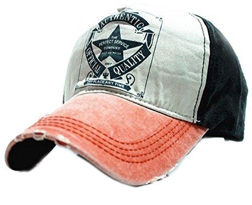 morefaz Unisex Baumwolle Baseball Cap Star Sport Mütze Baseballkappe Snap Back Trucker (Orange Peak) MFAZ Ltd