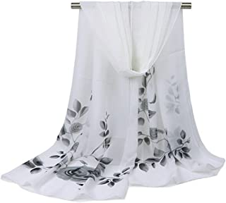 Bullidea Silk Scarf Women's Floral Printing Decoration Chiffon Scarf Beach Thin Shawl Wrap White