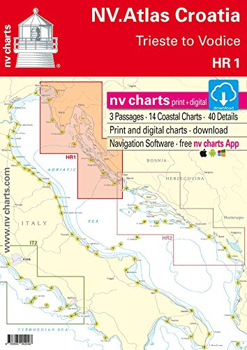NV.Atlas Croatia HR 1 - Trieste to Vodice | Seekarte Kroatien Papier & Digital [ NV Verlag / nv charts]