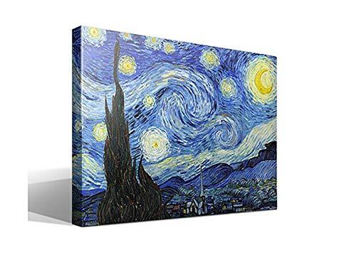 Cuadro Canvas La Noche Estrellada de Vincent Willem Van Gogh - Calidad HQ - 75 x 55
