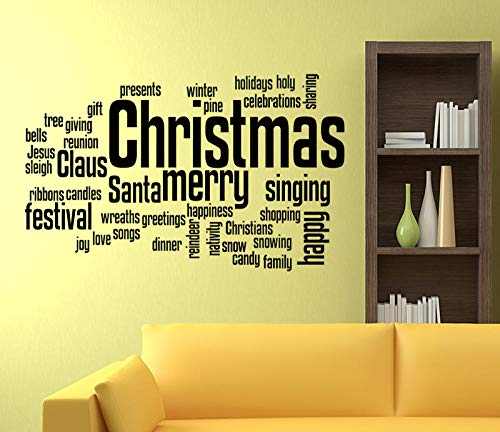 Cooldeerydm X-Mas Word Cloud Quotes Merry Christmas Quotes Wall Sticker, Muurtattoo, Decoratie XMAS965-Black_58 cm_x_83 cm