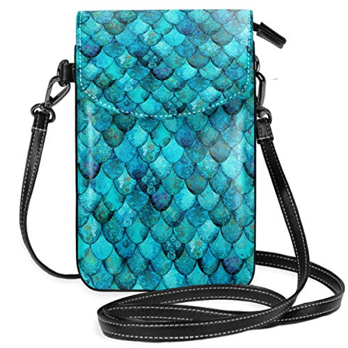 Suminla-Home Kleine Handybörse Umhängetasche Handtasche Aqua Türkis Meerjungfrau Drache Waage Smartphone Geldbörse mit abnehmbarem Riemen