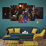 Heal The Mood Heroes of The Storm, Diablo, Warcraft, Hearthstone Wallpaper Canvas Wall Art Pictures 5 pcs 100x50cm Frameless
