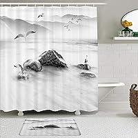 WOTAKA シャワーカーテン バスマット 2点セット 古典的な中国風のクレーンクリエイティブクリーチャーマウンテンロックスワンダーランド 自家 寮用 ホテル 間仕切り 浴室 バスルーム 風呂カーテン 足ふきマット 遮光 防水 おしゃれ 12個リング付き