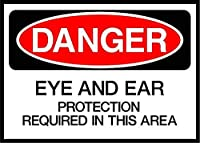 Eye/Ear Protection Required in This Area Danger 金属板ブリキ看板警告サイン注意サイン表示パネル情報サイン金属安全サイン