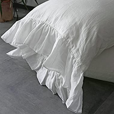 ESASILK Ruffles Linen Pillowcase .Pure Flax Pillow Sham 100% French Linen Ruffled Pillow Cover ,Standard ,Queen ,King Size (queen, white)