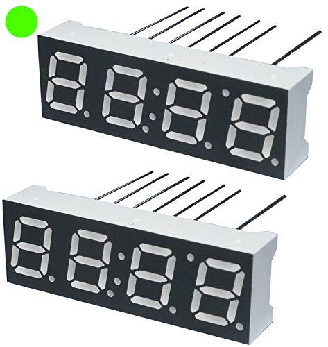 AERZETIX - Juego de 2 - Pantalla digital - módulo - paneles luminoso - display - 10x30.26mm - LED 7 segmentos - verde - THT - número de dígitos 4 - C44446