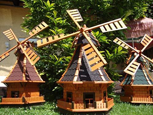BTV Robuste Windmühle,Windmühle für Garten, windmühlen Garten, WMB100at-OS ohne/mit SOLAR Beleuchtung 1 m groß schwarz anthrazit