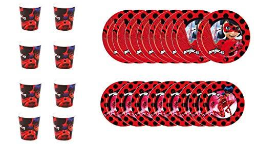 ALMACENESADAN 1100, Pack Fiestas y cumpleaños Basic Lady Bug, Compuesto por 8 Vasos, 8 Platos 18 cm y 8 Platos 23 cm