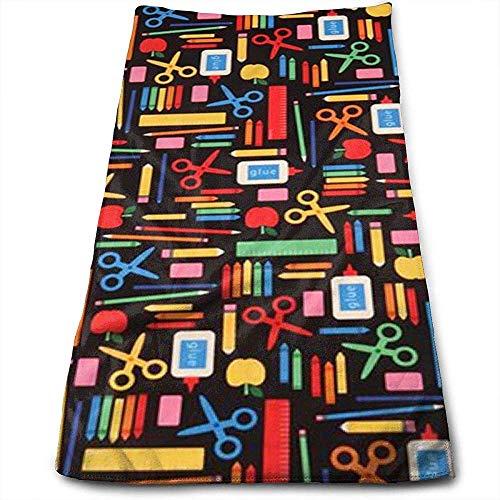Bert-Collins Towel Tijeras y Libros Personalidad Diversión Patrón Toallas faciales Fibra extrafina Super Absorbente Suave Toallas de Gimnasia