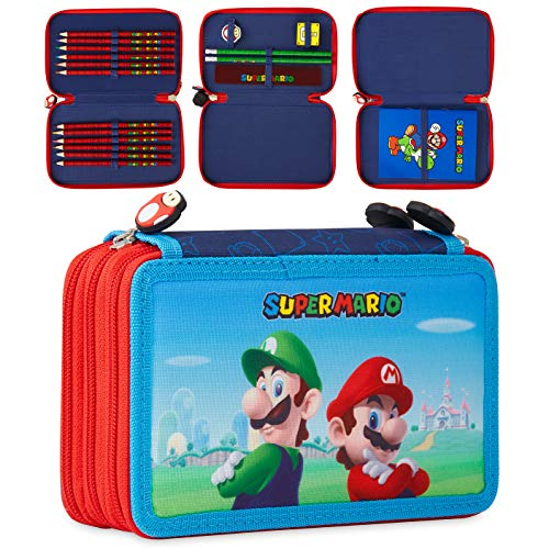 Super Mario Estuche Escolar, Incluye Material Escolar, Estuche Escolar 3 Compartimentos con Lapices de Colores Cuaderno Goma de Borrar, Regalos Para Niños