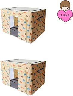 2 Sets of Fabric Storage bins,fabric storage boxes,clothing storage,ornament storage box,clear storage bins,Storage Box Large (Cartoon Dog Khaki) 20