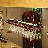 JBNJV Estilo Europeo Hierro Colgante Estante de Copas de Vino Estante de Vino Estante de decoración de Techo para Bares Restaurantes Almacenamiento (Color: Negro Tamaño: 100 * 30cm) -100 * 30cm_BR