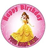 7.5 InchHappy Choices Custom Cake - Princess Belle Cupcake Birthday - Edible Cake and Party Cake Topper