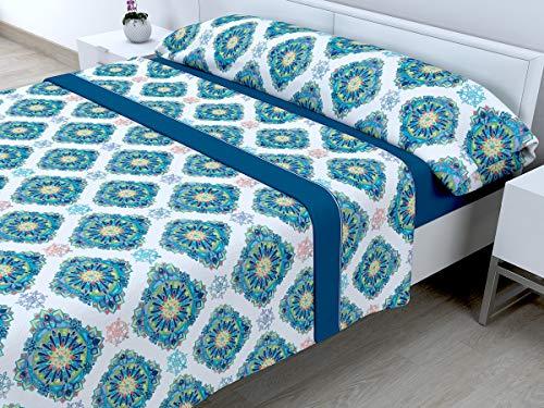 Cabetex Home - Set di Lenzuola Termiche in pireneo - 3 Pezzi - 120 gr/m2 - MOD. Elian 150_x_190/200 cm Blu