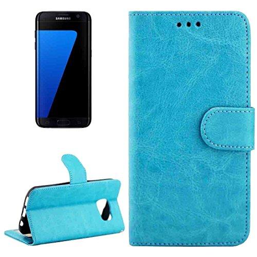 Geschikt als cadeau voor Samsung Galaxy S7 Edge / G935 leren hoes met getextureerde magneetsluiting van Crazy Horse met verstelbare standaard en kaartvakken en portefeuille decoratie. Rosa Roja