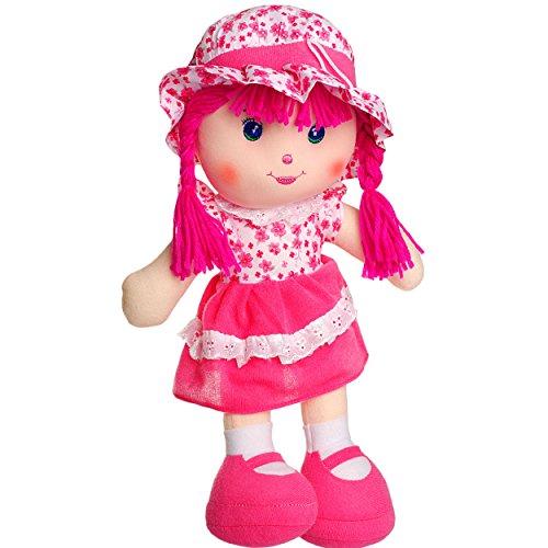 alles-meine.de GmbH große Schmusepuppe - Kleidung AUSZIEHBAR -  Mädchen mit Kleid - Blumen & Blüten / rosa - pink  - 35 - 37 cm - Stoffpuppe aus Plüsch - Lange Haare Puppe - fü..