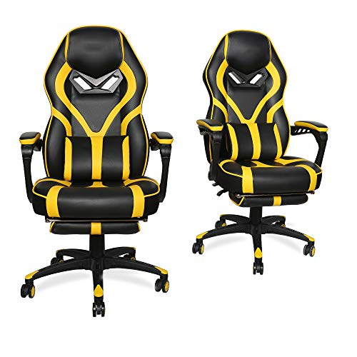 Gaming Chair Racing Footrest Massage Computer - Cushioned Comfort High Back PU Leather USB Vibrator Ergonomic Recliner Home Office Video Game for Kids for Adult for PS5(Yellow Pu Leather)