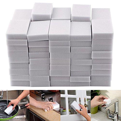 melupa 50 Pcs Magic Cleaning Sponges Eraser, Household Sponge Eraser Cleaner Foam Cleaning for Kitchen, Furniture, Car, Leather