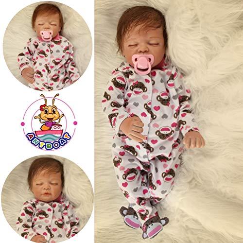Antboat 22 Pulgadas Muñeca Reborn Bebes Reborn Silicona Blanda Reborn Muñecos Bebé Recién Nacido Navidad Regalo de Juguete Baby Doll Bebe Reborn Niña Ojos Abierto