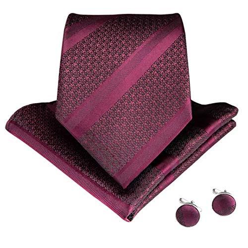 GPZFLGYN Corbatas para hombre, vino tinto, naranja, verde, corbatas de seda, juego de gemelos cuadrados de bolsillo para hombres, corbata, corbata de negocios