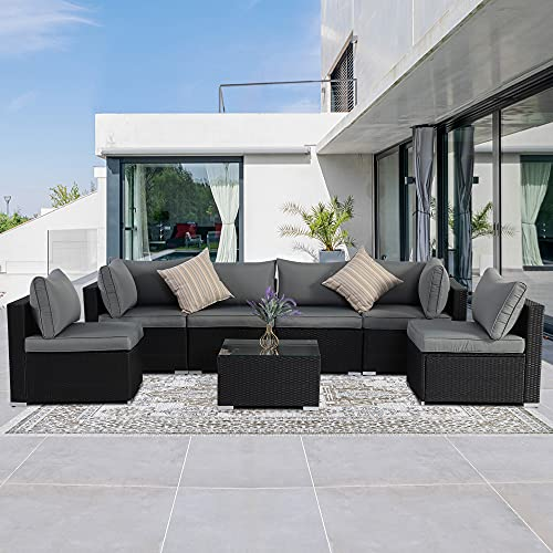 SUNVIVI OUTDOOR Patio Furniture Set 7-Piece, Outdoor Sectional Sofa with Coffee Tables, All Weather PE Black Wicker Rattan Conversation Set, Removable Cushions, Gray(Pillows Not Included)