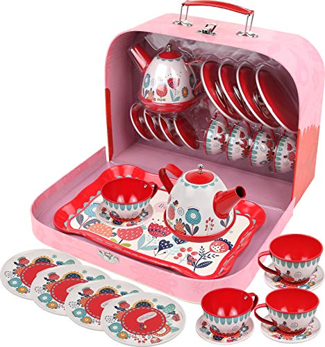 Kids Tea Set for Little Girls and Boys Pretend Play Tin Tea Kitchen Toy Set with a Carry Case (15...