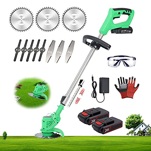 Cordless String Trimmer Edger 24v Lightweight Grass Trimmer with Blade, 2Pcs 2.0Ah Battery Powered Weed Eater Electric Lawn Mower Weed Wacker Height Adjustable Brush Cutter Tool for Yard Garden