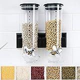 Ballino Dispensador de cereales secos con doble dep/ósito de pl/ástico Individual Verde