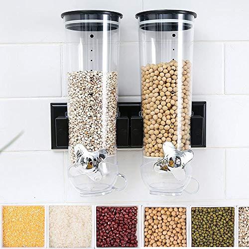 Dispenser di cereali con montaggio a parete Doppio contenitore in plastica classica per alimenti secchi Dispenser di cereali con contenitore doppio, D